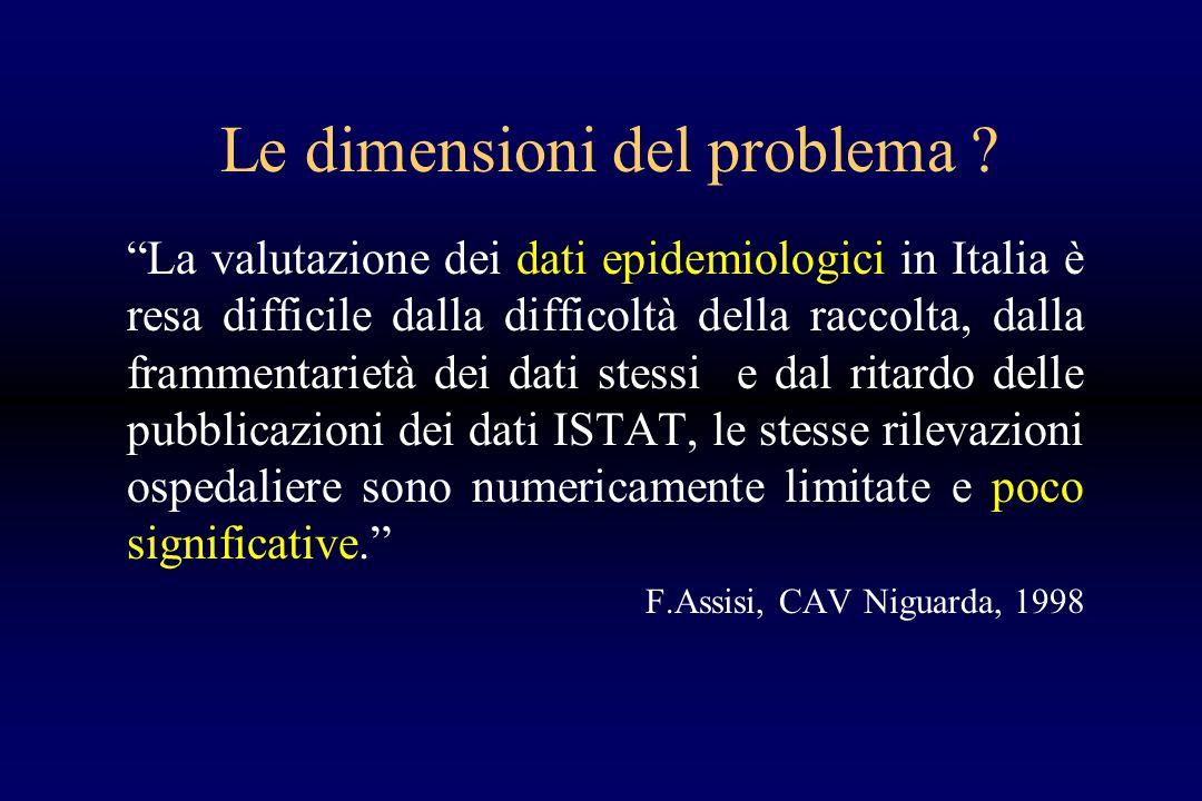 Le dimensioni del problema ? La valutazione dei dati epidemiologici in Italia è resa difficile dalla difficoltà della raccolta, dalla frammentarietà d