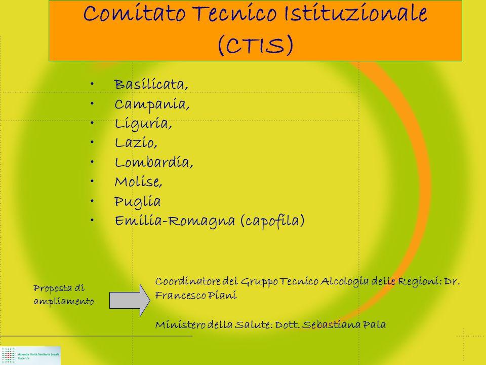 Comitato Tecnico Istituzionale (CTIS) Basilicata, Campania, Liguria, Lazio, Lombardia, Molise, Puglia Emilia-Romagna (capofila) Coordinatore del Gruppo Tecnico Alcologia delle Regioni: Dr.