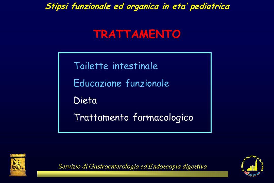 TRATTAMENTO Toilette intestinale Educazione funzionale Dieta Trattamento farmacologico