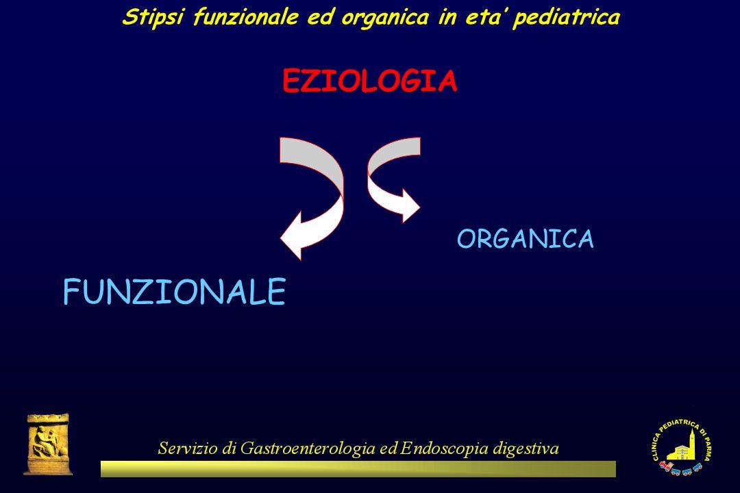 Stipsi funzionale ed organica in eta pediatrica EZIOLOGIA FUNZIONALE ORGANICA