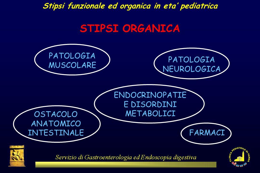Stipsi funzionale ed organica in eta pediatrica STIPSI ORGANICA PATOLOGIA MUSCOLARE OSTACOLO ANATOMICO INTESTINALE PATOLOGIA NEUROLOGICA ENDOCRINOPATI