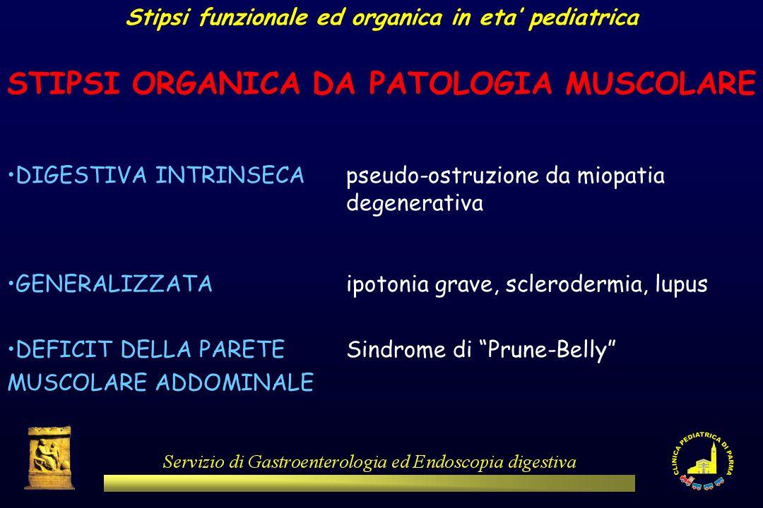 Stipsi funzionale ed organica in eta pediatrica STIPSI ORGANICA DA PATOLOGIA MUSCOLARE DIGESTIVA INTRINSECApseudo-ostruzione da miopatia degenerativa