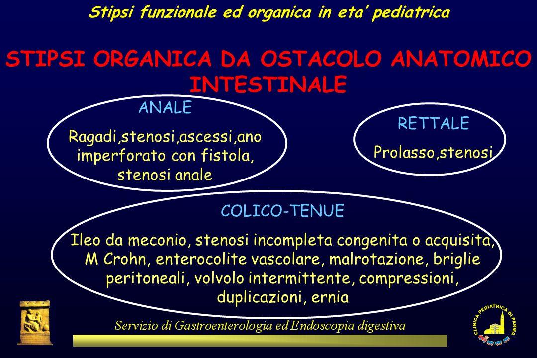 Stipsi funzionale ed organica in eta pediatrica STIPSI ORGANICA DA OSTACOLO ANATOMICO INTESTINALE ANALE Ragadi,stenosi,ascessi,ano imperforato con fis