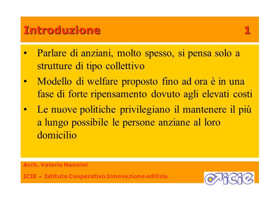 Introduzione1 Arch. Valerio Nannini ICIE – Istituto Cooperativo Innovazione edilizia Parlare di anziani, molto spesso, si pensa solo a strutture di ti