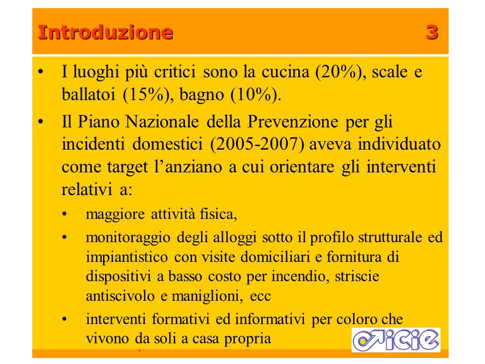 Introduzione3 Arch. Valerio Nannini ICIE – Istituto Cooperativo Innovazione edilizia I luoghi più critici sono la cucina (20%), scale e ballatoi (15%)