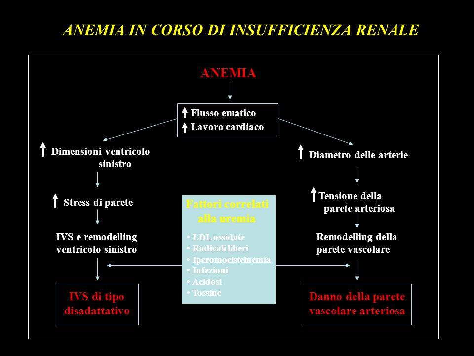 ANEMIA IN CORSO DI INSUFFICIENZA RENALE ANEMIA Flusso ematico Lavoro cardiaco IVS e remodelling ventricolo sinistro Remodelling della parete vascolare
