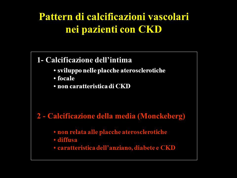 Pattern di calcificazioni vascolari nei pazienti con CKD 1- Calcificazione dellintima 2 - Calcificazione della media (Monckeberg) sviluppo nelle placc