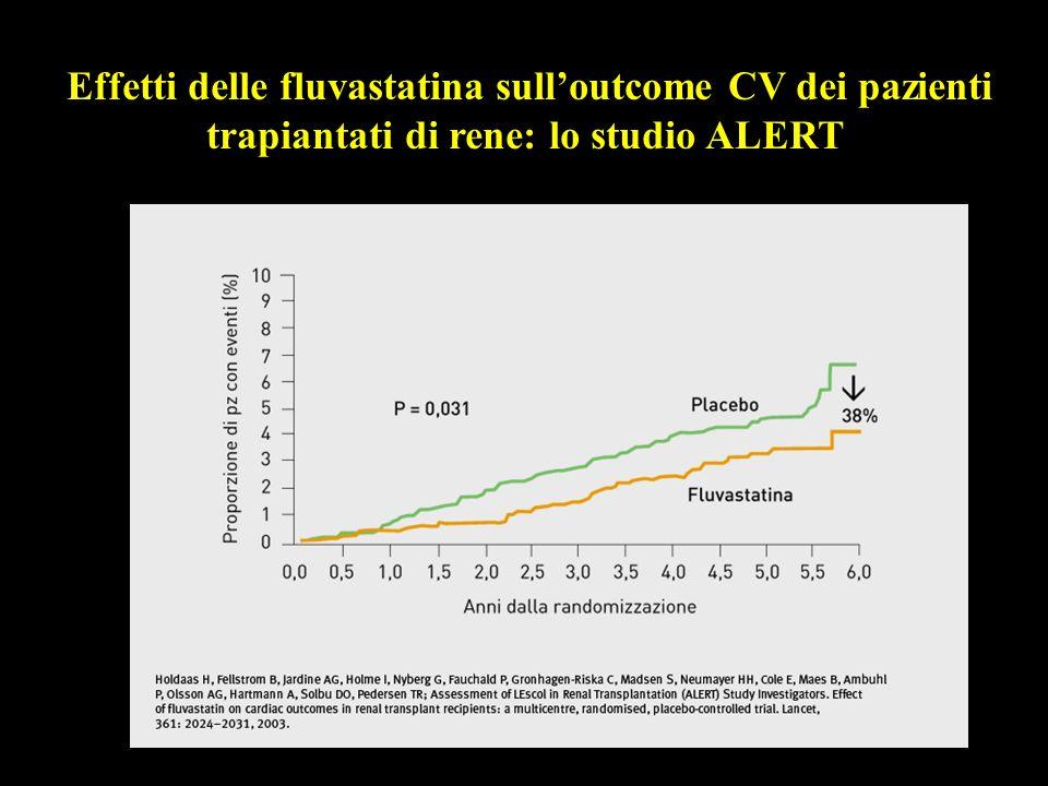 Effetti delle fluvastatina sulloutcome CV dei pazienti trapiantati di rene: lo studio ALERT