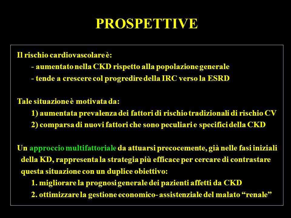 PROSPETTIVE Il rischio cardiovascolare è: - aumentato nella CKD rispetto alla popolazione generale - tende a crescere col progredire della IRC verso l