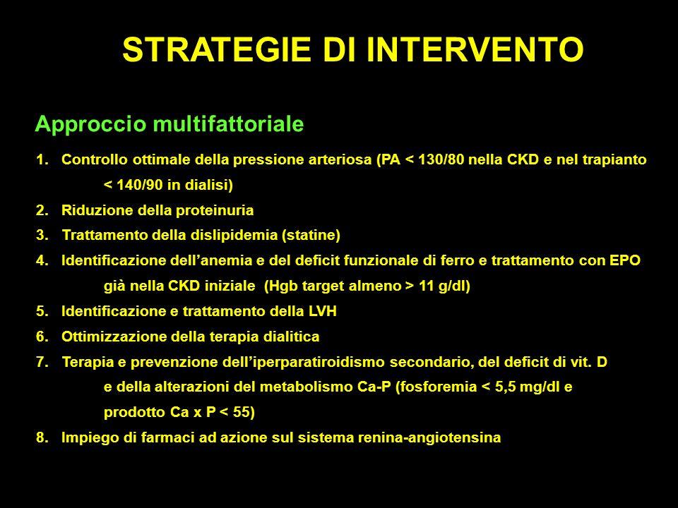 STRATEGIE DI INTERVENTO Approccio multifattoriale 1.Controllo ottimale della pressione arteriosa (PA < 130/80 nella CKD e nel trapianto < 140/90 in di