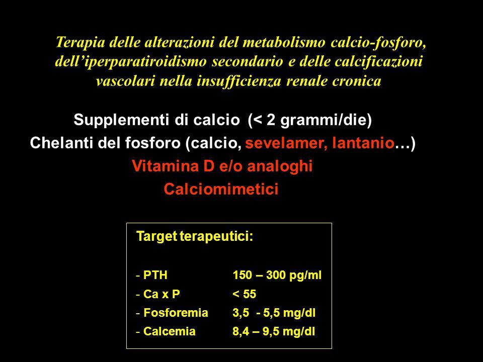 Terapia delle alterazioni del metabolismo calcio-fosforo, delliperparatiroidismo secondario e delle calcificazioni vascolari nella insufficienza renal
