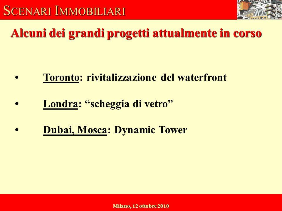S CENARI I MMOBILIARI Milano, 12 ottobre 2010 Alcuni dei grandi progetti attualmente in corso Toronto: rivitalizzazione del waterfront Londra: scheggia di vetro Dubai, Mosca: Dynamic Tower