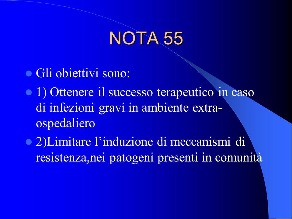 NOTA 55 Gli obiettivi sono: 1) Ottenere il successo terapeutico in caso di infezioni gravi in ambiente extra- ospedaliero 2)Limitare linduzione di mec