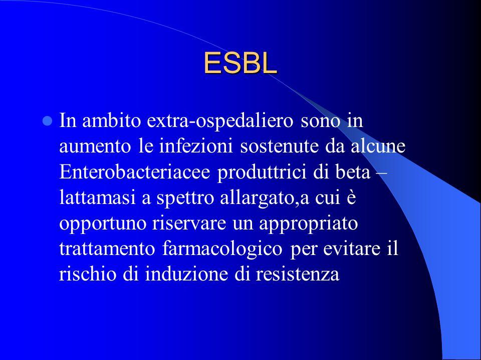 ESBL In ambito extra-ospedaliero sono in aumento le infezioni sostenute da alcune Enterobacteriacee produttrici di beta – lattamasi a spettro allargat