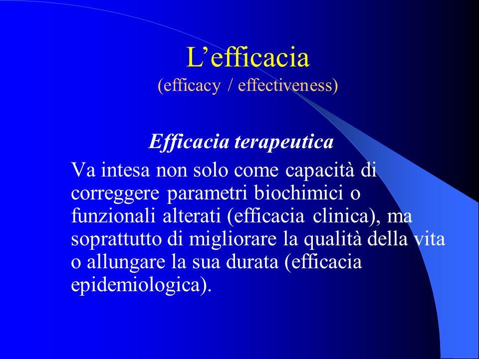 Efficacia terapeutica Va intesa non solo come capacità di correggere parametri biochimici o funzionali alterati (efficacia clinica), ma soprattutto di