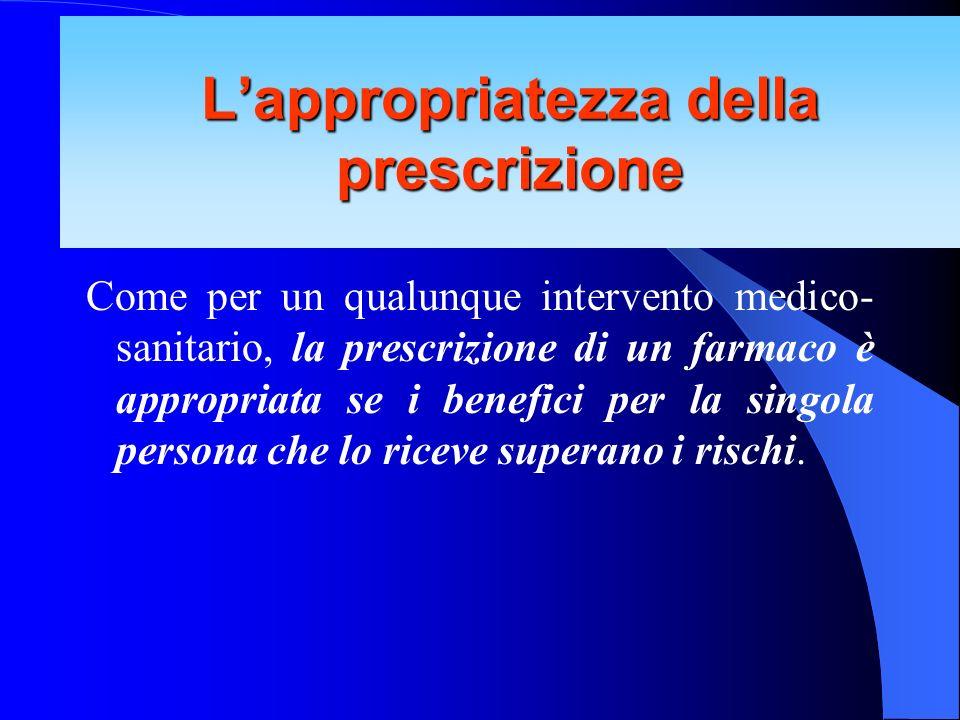Come per un qualunque intervento medico- sanitario, la prescrizione di un farmaco è appropriata se i benefici per la singola persona che lo riceve sup