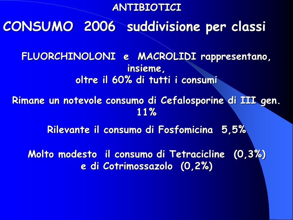 CONSUMO 2006 suddivisione per classi ANTIBIOTICI FLUORCHINOLONI e MACROLIDI rappresentano, insieme, oltre il 60% di tutti i consumi Rimane un notevole