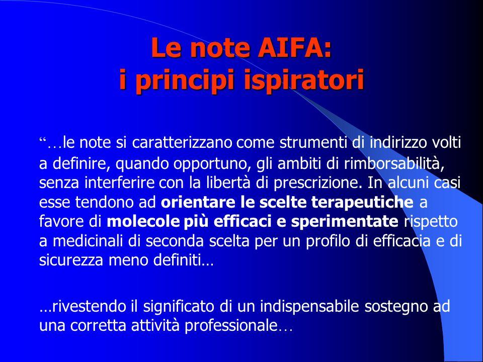 Le note AIFA: i principi ispiratori … le note si caratterizzano come strumenti di indirizzo volti a definire, quando opportuno, gli ambiti di rimborsa