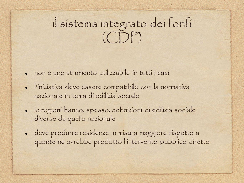 il sistema integrato dei fonfi (CDP) non è uno strumento utilizzabile in tutti i casi l'iniziativa deve essere compatibile con la normativa nazionale