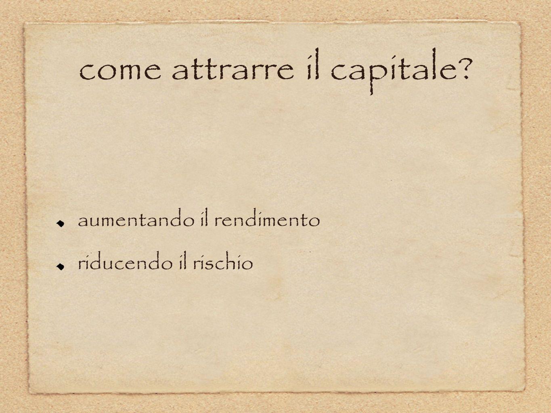 come attrarre il capitale? aumentando il rendimento riducendo il rischio