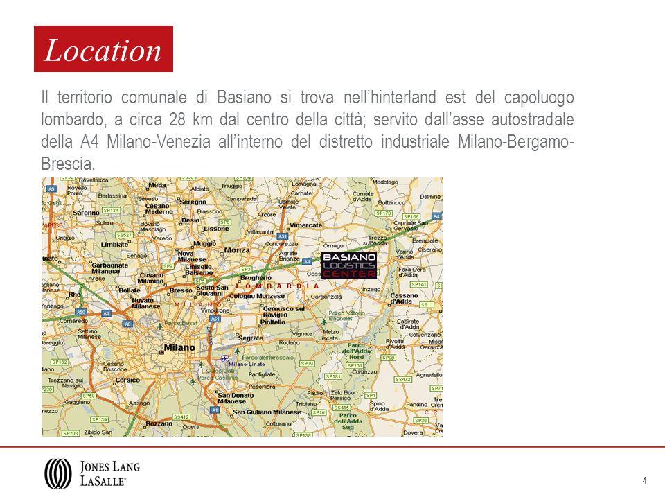 4 Location Il territorio comunale di Basiano si trova nellhinterland est del capoluogo lombardo, a circa 28 km dal centro della città; servito dallass