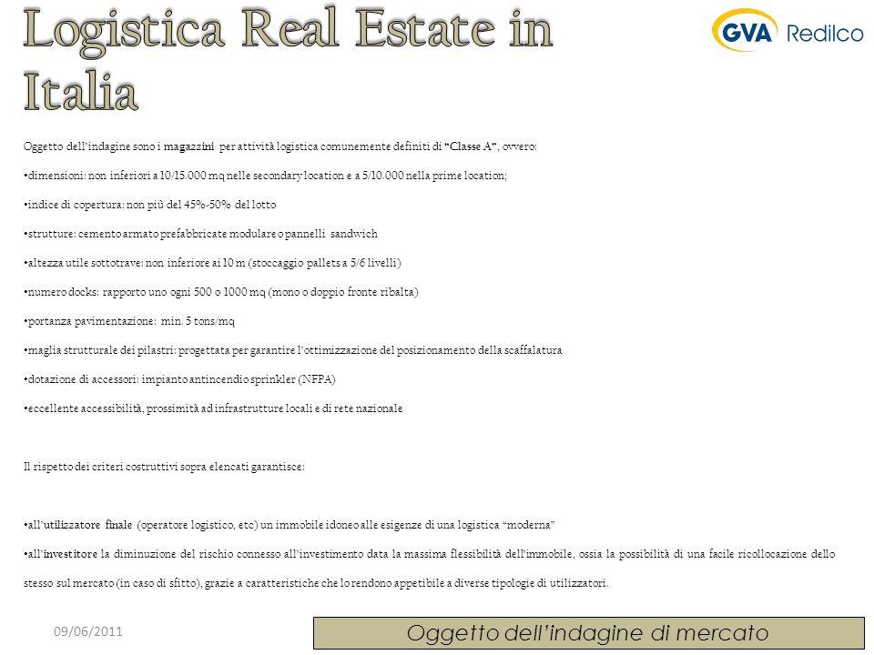 09/06/2011 Oggetto dellindagine di mercato Oggetto dellindagine sono i magazzini per attività logistica comunemente definiti di Classe A, ovvero: dime