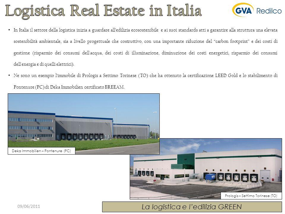 Prologis – Settimo Torinese (TO) 09/06/2011 La logistica e ledilizia GREEN Deka Immobilien – Pontenure (PC) In Italia il settore della logistica inizi