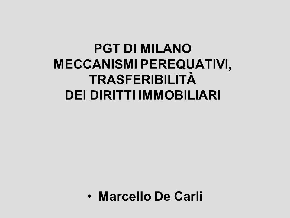 PGT DI MILANO MECCANISMI PEREQUATIVI, TRASFERIBILITÀ DEI DIRITTI IMMOBILIARI Marcello De Carli