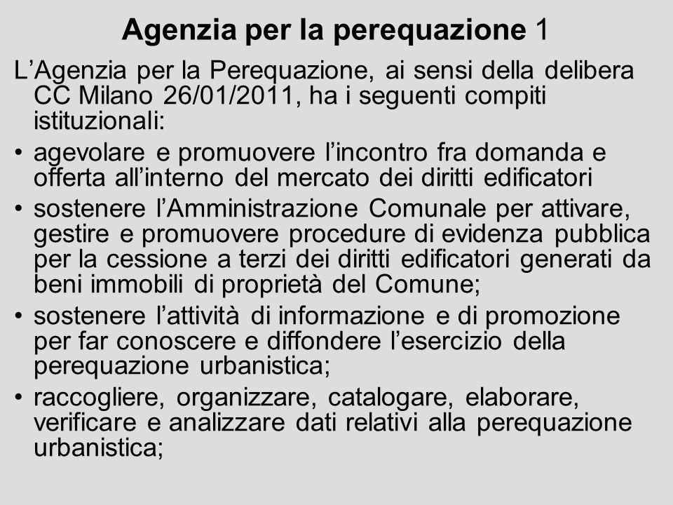 Agenzia per la perequazione 1 LAgenzia per la Perequazione, ai sensi della delibera CC Milano 26/01/2011, ha i seguenti compiti istituzionali: agevola