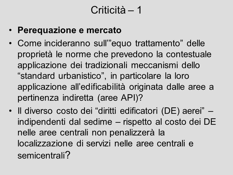 Criticità – 1 Perequazione e mercato Come incideranno sullequo trattamento delle proprietà le norme che prevedono la contestuale applicazione dei trad