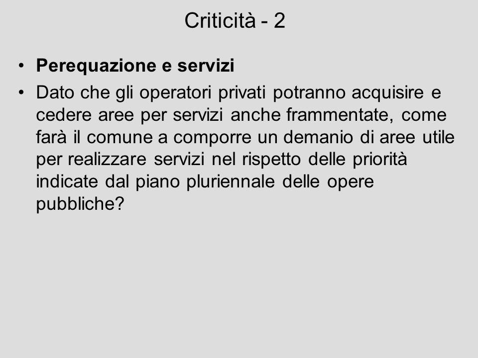 Criticità - 2 Perequazione e servizi Dato che gli operatori privati potranno acquisire e cedere aree per servizi anche frammentate, come farà il comun