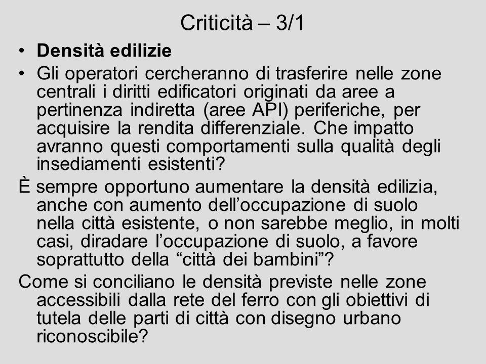 Criticità – 3/1 Densità edilizie Gli operatori cercheranno di trasferire nelle zone centrali i diritti edificatori originati da aree a pertinenza indi