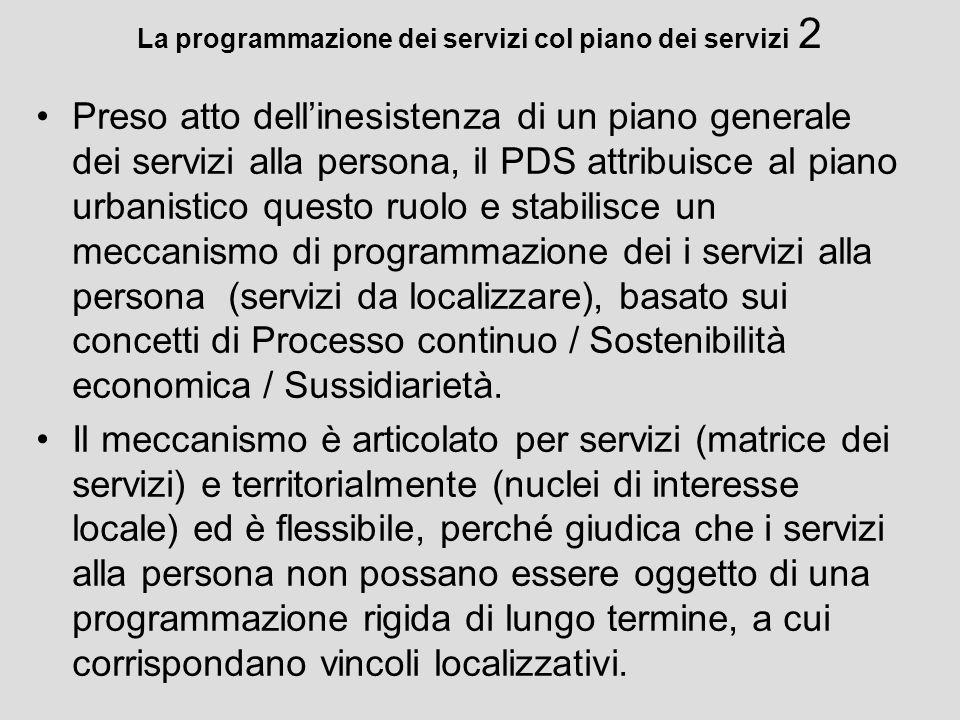 La programmazione dei servizi col piano dei servizi 2 Preso atto dellinesistenza di un piano generale dei servizi alla persona, il PDS attribuisce al