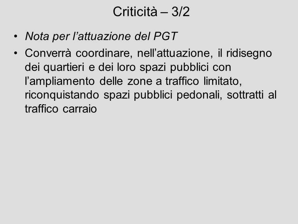 Criticità – 3/2 Nota per lattuazione del PGT Converrà coordinare, nellattuazione, il ridisegno dei quartieri e dei loro spazi pubblici con lampliament