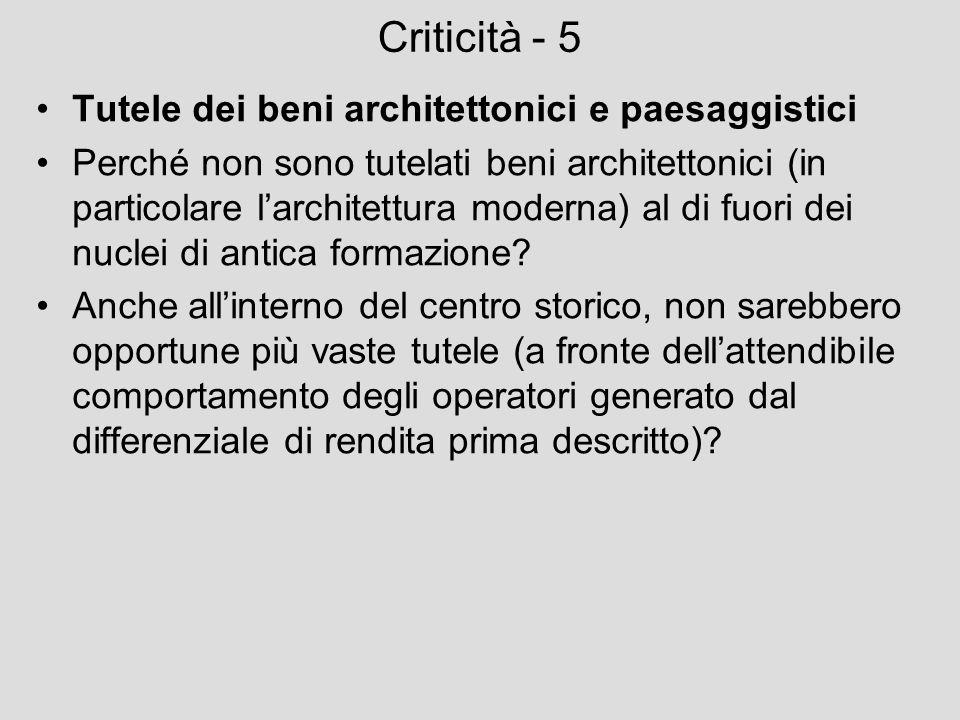 Criticità - 5 Tutele dei beni architettonici e paesaggistici Perché non sono tutelati beni architettonici (in particolare larchitettura moderna) al di
