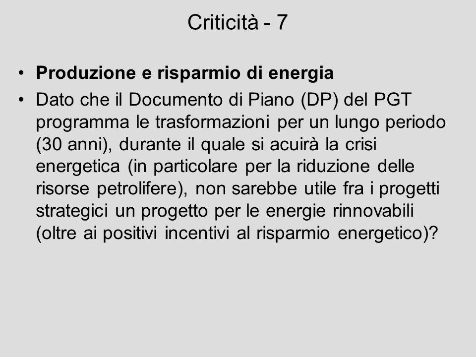 Criticità - 7 Produzione e risparmio di energia Dato che il Documento di Piano (DP) del PGT programma le trasformazioni per un lungo periodo (30 anni)