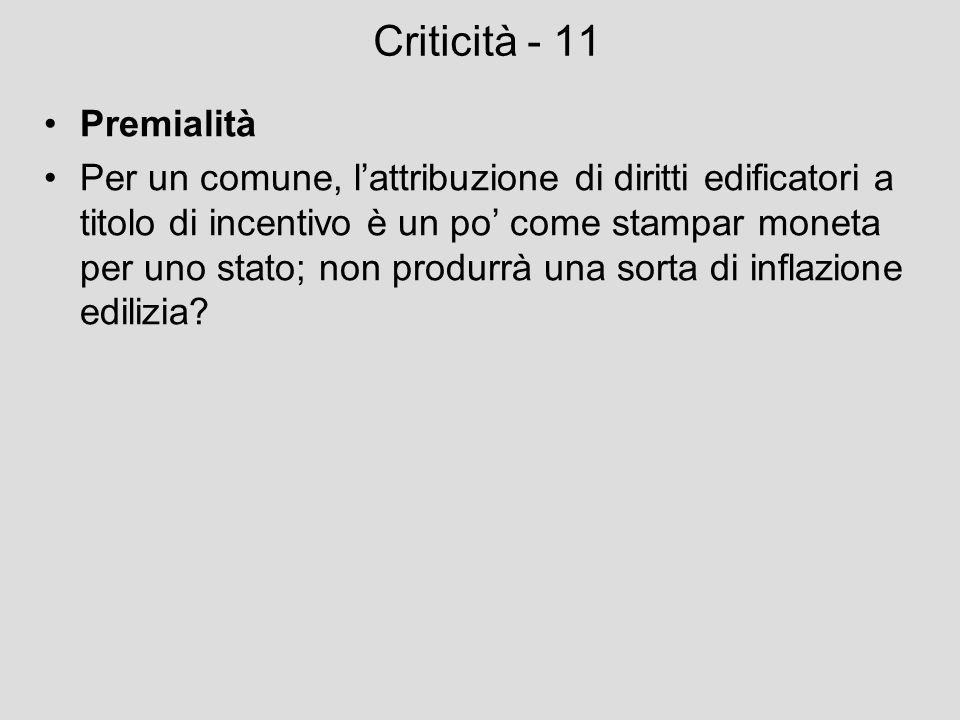 Criticità - 11 Premialità Per un comune, lattribuzione di diritti edificatori a titolo di incentivo è un po come stampar moneta per uno stato; non pro