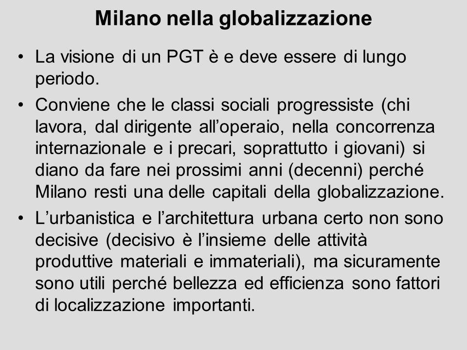 Milano nella globalizzazione La visione di un PGT è e deve essere di lungo periodo. Conviene che le classi sociali progressiste (chi lavora, dal dirig