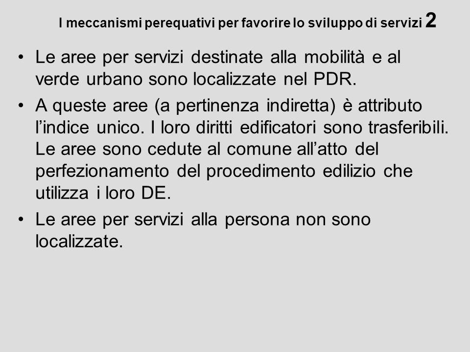 I meccanismi perequativi per favorire lo sviluppo di servizi 2 Le aree per servizi destinate alla mobilità e al verde urbano sono localizzate nel PDR.
