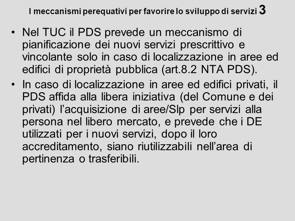 I meccanismi perequativi per favorire lo sviluppo di servizi 3 Nel TUC il PDS prevede un meccanismo di pianificazione dei nuovi servizi prescrittivo e