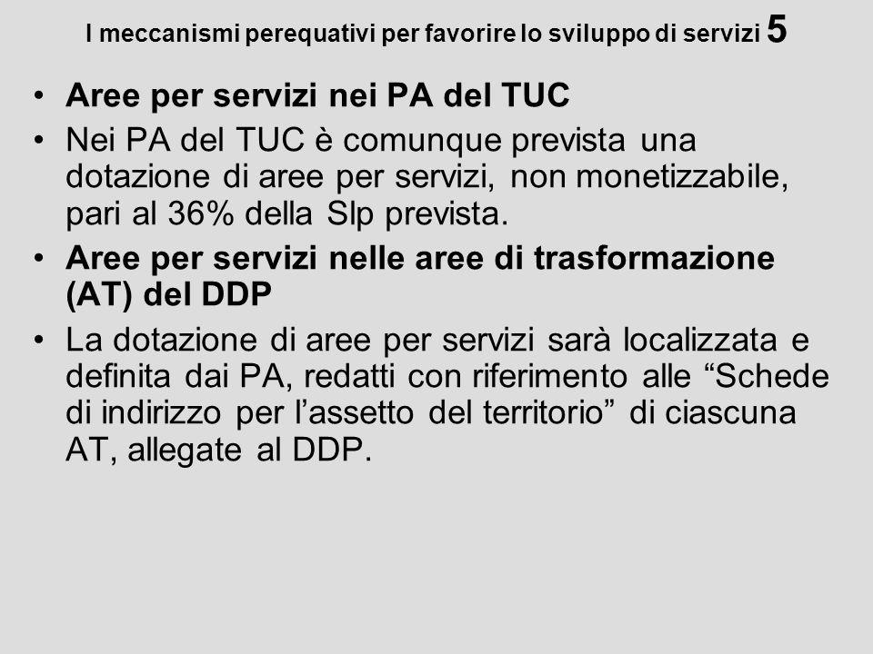 I meccanismi perequativi per favorire lo sviluppo di servizi 5 Aree per servizi nei PA del TUC Nei PA del TUC è comunque prevista una dotazione di are