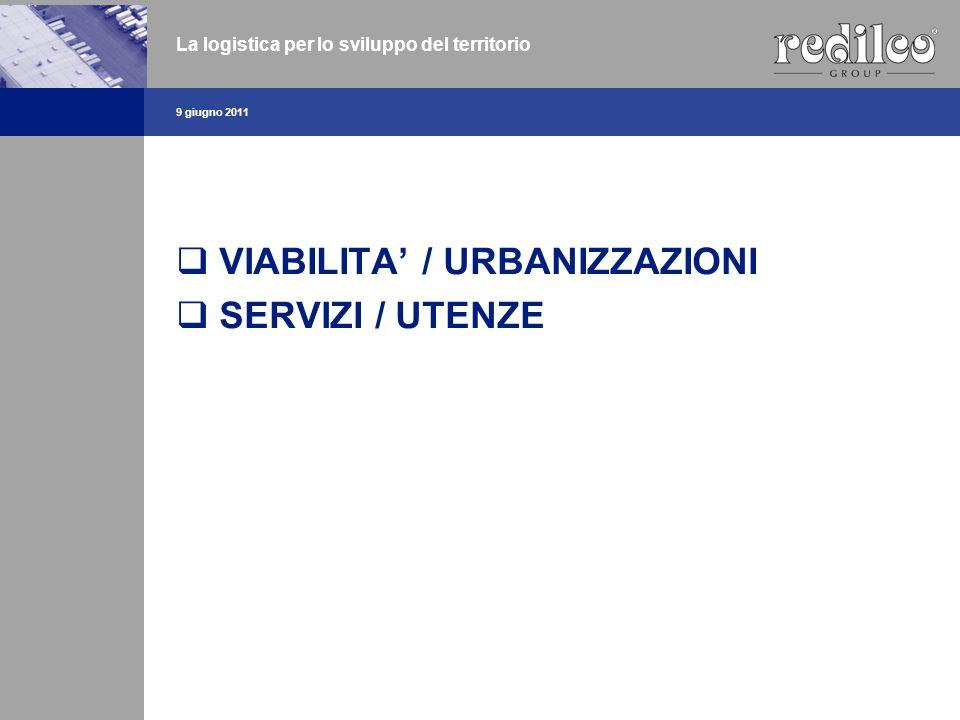VIABILITA / URBANIZZAZIONI SERVIZI / UTENZE 9 giugno 2011 La logistica per lo sviluppo del territorio