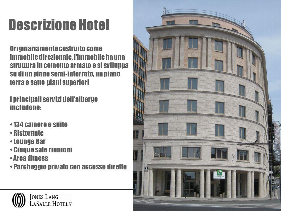 Descrizione Hotel Originariamente costruito come immobile direzionale, limmobile ha una struttura in cemento armato e si sviluppa su di un piano semi-
