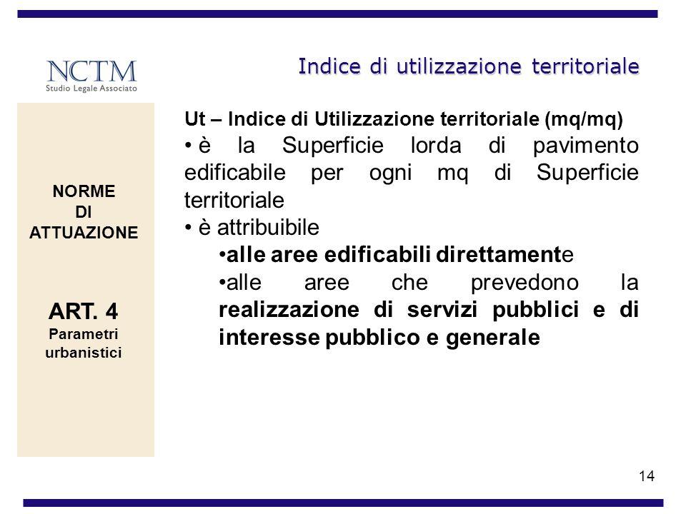 14 Indice di utilizzazione territoriale Ut – Indice di Utilizzazione territoriale (mq/mq) è la Superficie lorda di pavimento edificabile per ogni mq d