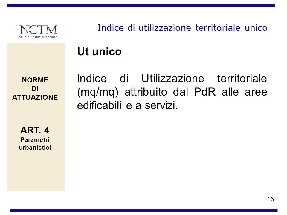 15 Indice di utilizzazione territoriale unico Ut unico Indice di Utilizzazione territoriale (mq/mq) attribuito dal PdR alle aree edificabili e a servi