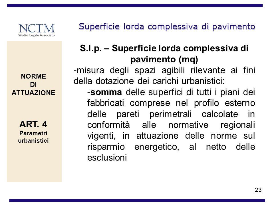 23 Superficie lorda complessiva di pavimento S.l.p. – Superficie lorda complessiva di pavimento (mq) -misura degli spazi agibili rilevante ai fini del