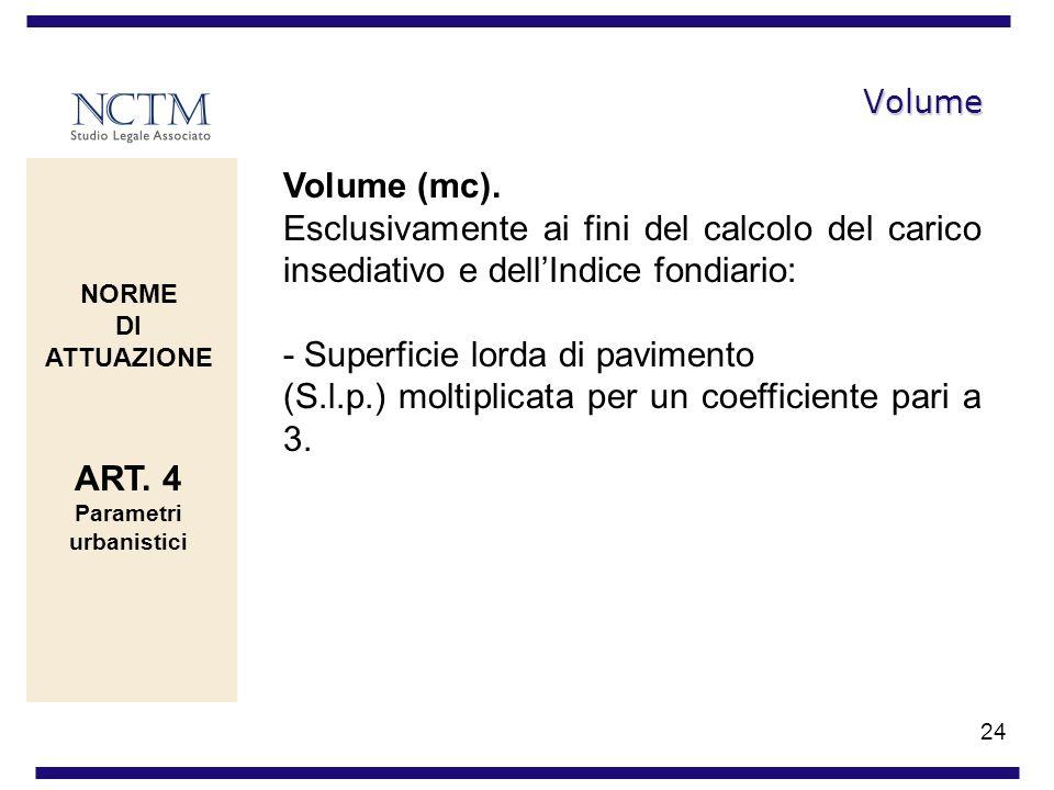 24 Volume Volume (mc). Esclusivamente ai fini del calcolo del carico insediativo e dellIndice fondiario: - Superficie lorda di pavimento (S.l.p.) molt