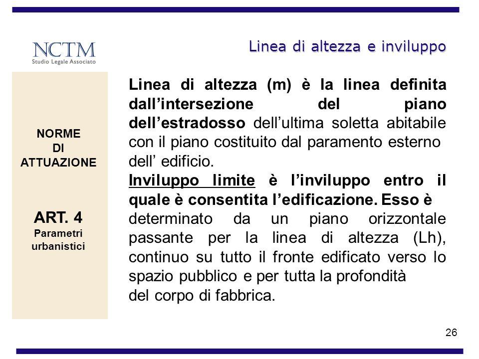26 Linea di altezza e inviluppo Linea di altezza (m) è la linea definita dallintersezione del piano dellestradosso dellultima soletta abitabile con il