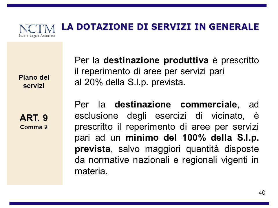 40 LA DOTAZIONE DI SERVIZI IN GENERALE Per la destinazione produttiva è prescritto il reperimento di aree per servizi pari al 20% della S.l.p. previst