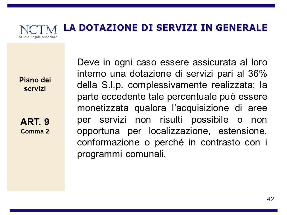 42 LA DOTAZIONE DI SERVIZI IN GENERALE Deve in ogni caso essere assicurata al loro interno una dotazione di servizi pari al 36% della S.l.p. complessi